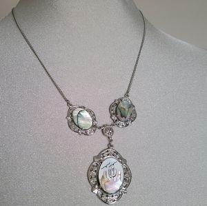 Vtg silver western necklace, cactus shell design